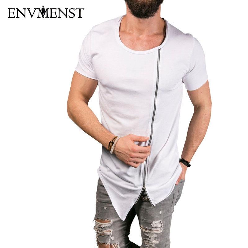 2018 Ny mænds fashion show Stilfuld lang t-shirt Asymmetrisk side - Herretøj - Foto 4