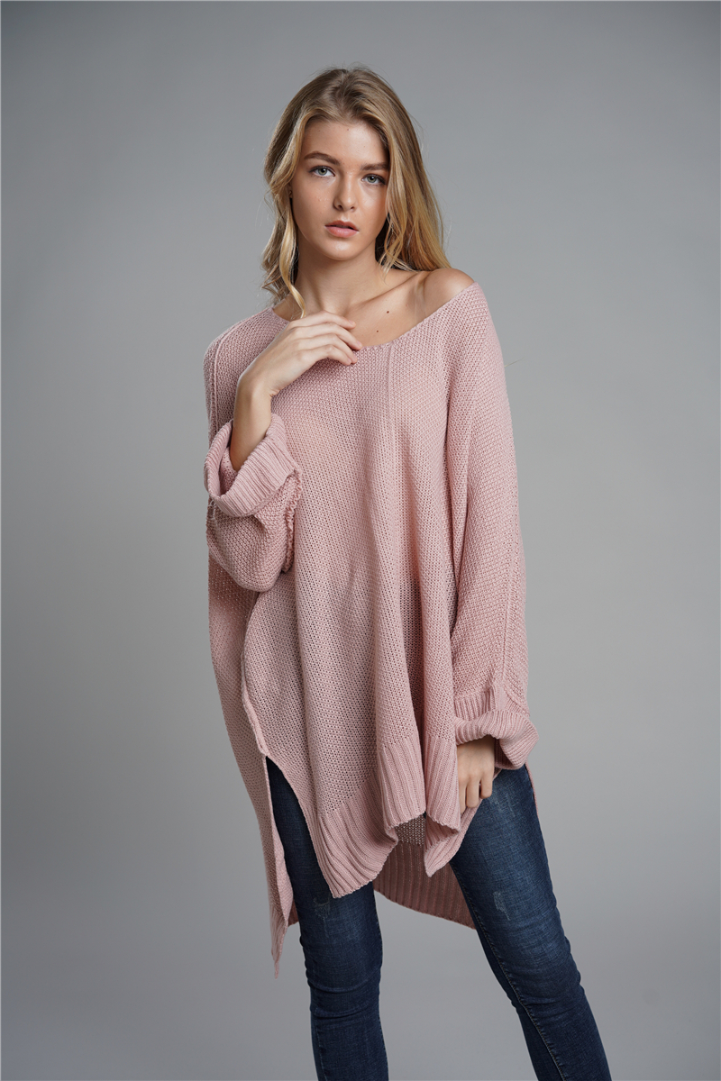 Oversized Batwing Sleeve Lady's Sweater, Knitwear V Neck, Long Pullover 13