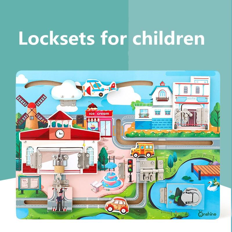 Jouet de déverrouillage des enfants panneau cognitif Montessori éducation jouet maternelle aides pédagogiques enfants jouent outil intelligent pour les enfants