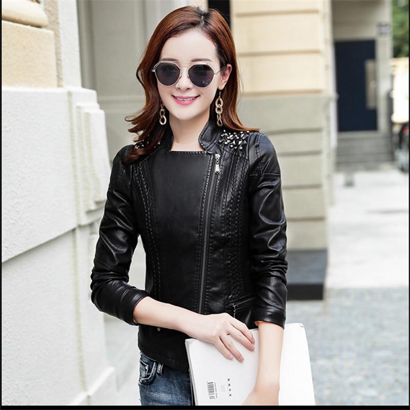 Printemps Vêtements De 2018 Noir Qualité Femmes Bomber Nouvelle Rivet Dames Moto Mode Veste 3xl Streetwear Pu Arrivée Haute 4HSqxf