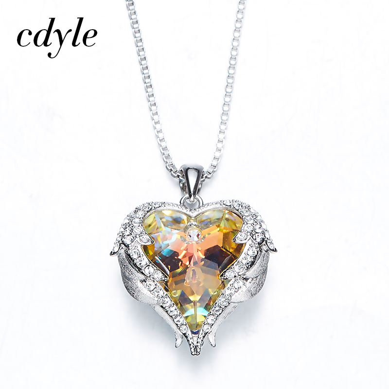 Cdyle Crystals From Swarovski Necklaces Women Pendants Heart Shaped Blue Purple AB Color Fashion Jewelry Austrian Rhinestone New