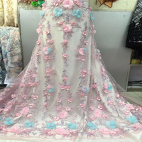 HFX White Wedding Dress Lace Fabric, 3D Chiffon Flowers Nail Bead High End European Lace Fabric Free Shipping X169 2