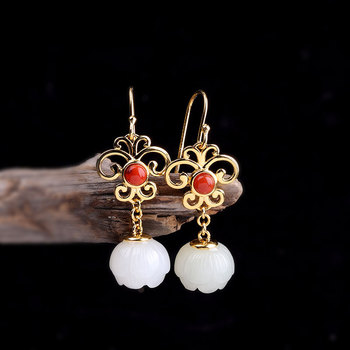 925 Silver Jewelry Gold Plated Lotus Jade Earrings For Women With Natural Red Onyx Jewellery Accessories Brincos