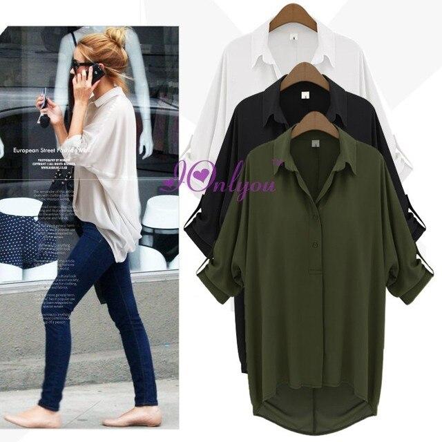 32ef52eb6 New Fashion Womens Girls Chiffon Loose Short sleeved Button Down Shirt  Blouse Tops Female Lapels Coat Black White Green 3 Sizes