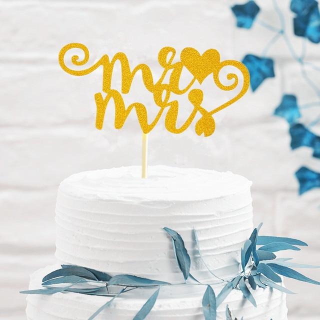 Aliexpress.com : Buy Glitter Gold Paper Cake Topper Mr & Mrs ...