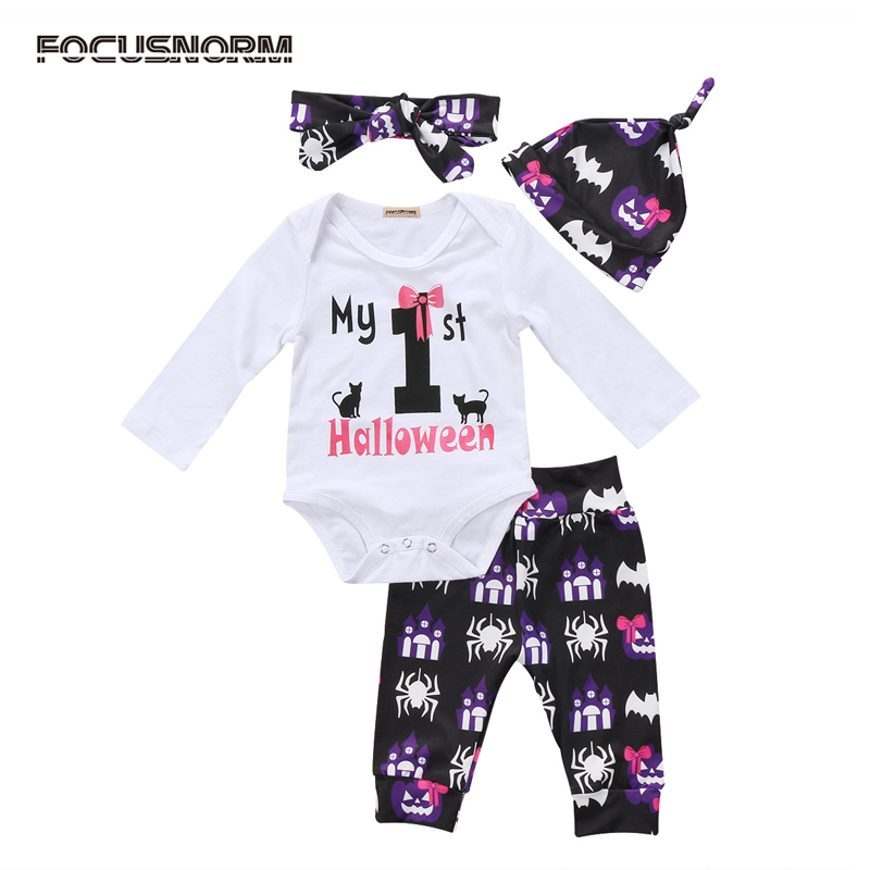 New Halloween Newborn Infant Baby Girl Clothes Clothes Letter Print Romper Jumpsuit Long Plant Headband Hat Clothes Outfits