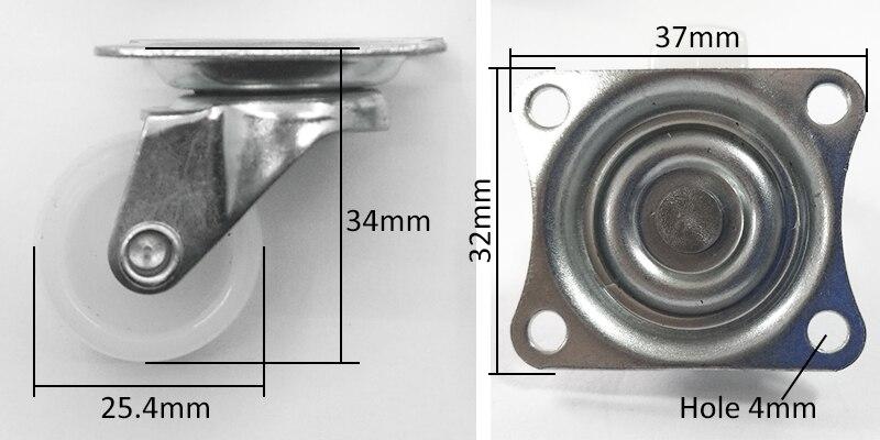 4 pçs 25mm mini roda 1 polegada pequeno rolo de náilon móveis estante gaveta castor flor rack mesa luz gabinete giratório rodízio-2