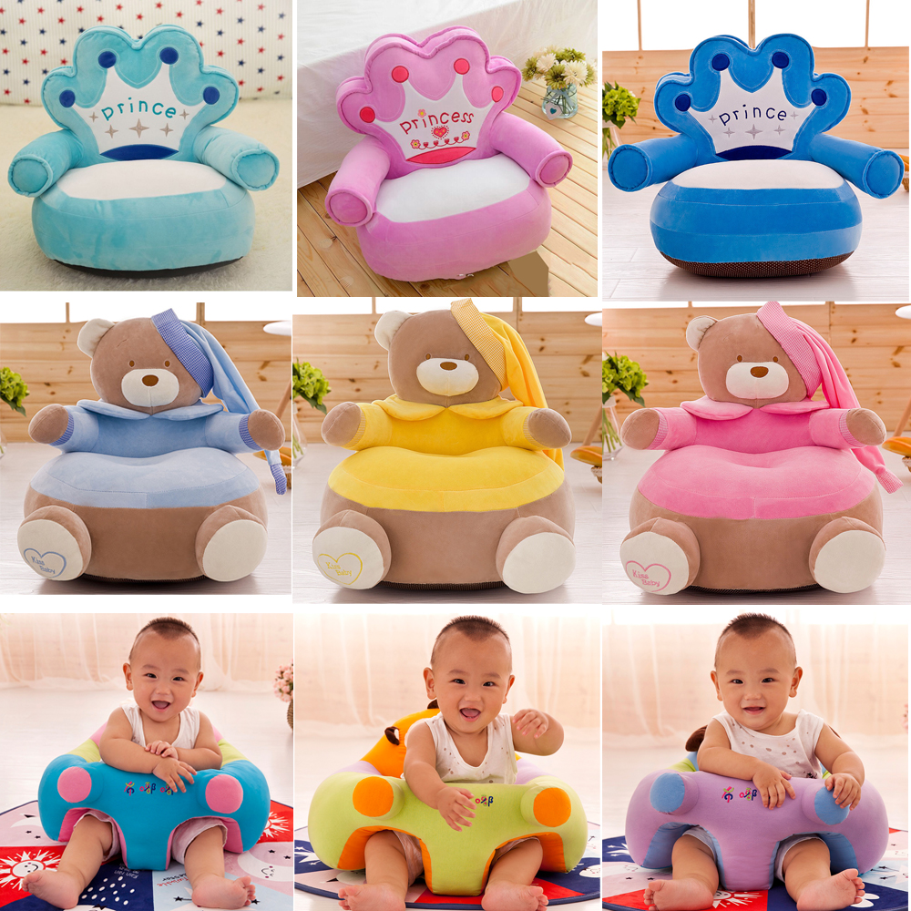 Children Chair Cover Seat Sofa No-Filling Toddler Baby Kids Cartoon-Crown Skin Neat
