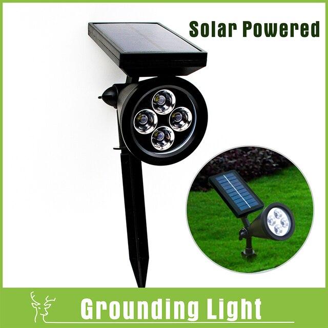 4 Led Mise à La Terre Pelouse Lumière Solaire Jardin Paysage éclairage Extérieur étanche Lampes Solaires