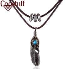 Wholesale Feather Pendant Men Choker Women jewelry statement necklaces & pendants kolye Necklace collier femme