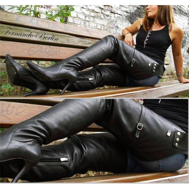 2019 nuevo tipo muslo alto botas con cinturón puntiagudos tacones altos zapatos con cremallera lateral para mujeres botas de cintura de cuero negro sobre la rodilla - 2