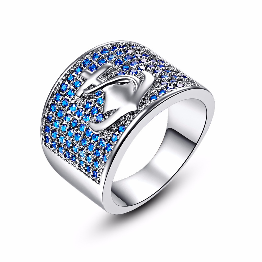 Unique Anchor Design Silver Ring With Blue Crystal Top