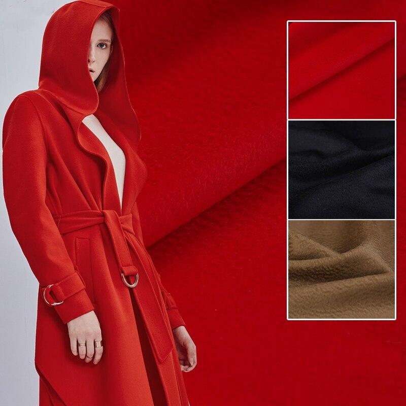 150 CM de large 600 G/M poids épais solide couleur marron noir rouge cachemire laine tissu pour automne hiver chaud pardessus Outwear B011