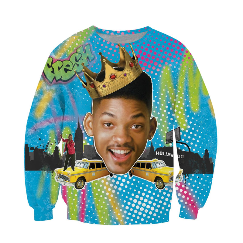 Raisevern Fashion 3D Hoodie Will Smith Fresh Prince Of Bel Air Print 3D Sweatshirt Long Sleeve Crewneck Tops S-XL Dropship