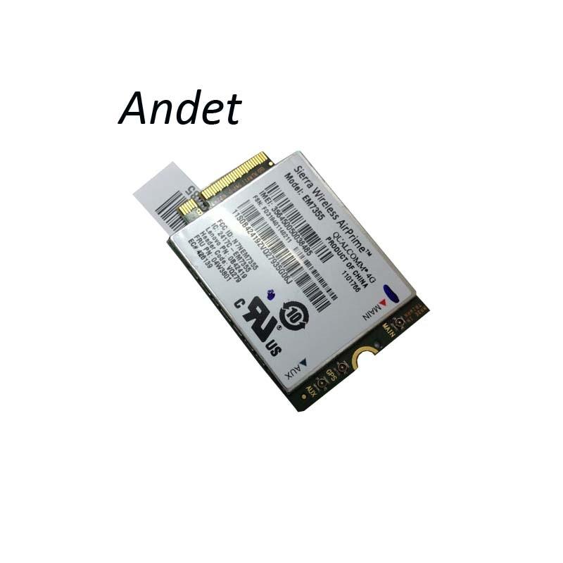 Unlocked EM7355 04W3801 gobi5000 FDD 4GLTE/EVDO/HSPA+NGFF Card For Thinkpad Lenovo X240 X240S T440P T440 T440S T540P W540 Stock em7345 4g wwan card for lenovo thinkpad x1 carbon x240 x250 l540 t440 t440p t440s t450 t450s t540p t550 w540 series p n 04x6014
