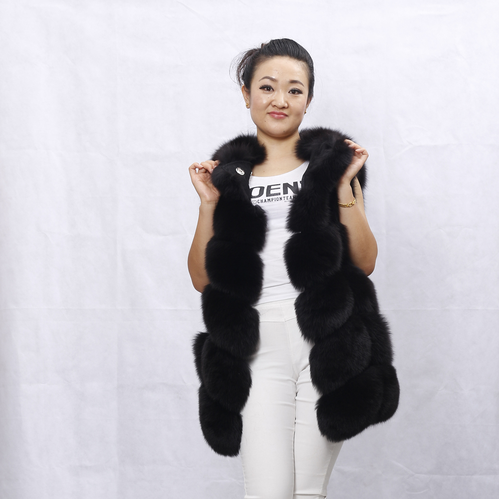 ALICEFUR Ladies Winter Fox Fur Vest Sleeveless Warm Thick Solid Natural Fur Coat O-Neck Genuine Luxury Real Fur Gilet Outerwear