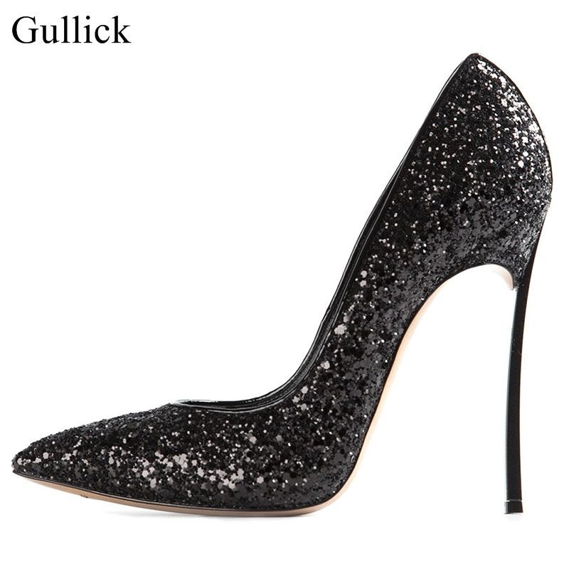New Arrivals Bling Bling Glitter High Heel Pumps For Women Slip-on Pointed Toe Thin Heels Dress Shoes Metal Heels Black sexy gold metal decoration high heel pumps pointed toe thin heels slip on women party dress shoes formal wedding dress shoes