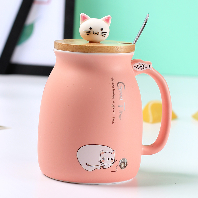 450ml cartoon cat ceramic cup Japanese creative coffee mug with lid with spoon cup cute girls gifts