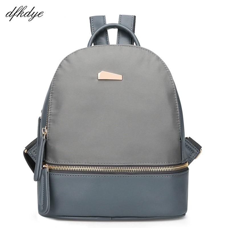Bags For Teenage Girls Blue Backpacks Fashion Nylon & Pu Leather Backpack Female School Bag Solid Rucksack Brand Shoulder