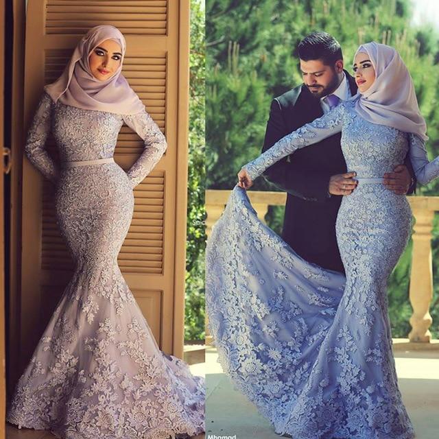 Moslemi hijab õhtukleidid pikk varrukas pitsist merineitsi elegantne lilla õhtukleit Saudi Araabia prom kleit abaya kleidid