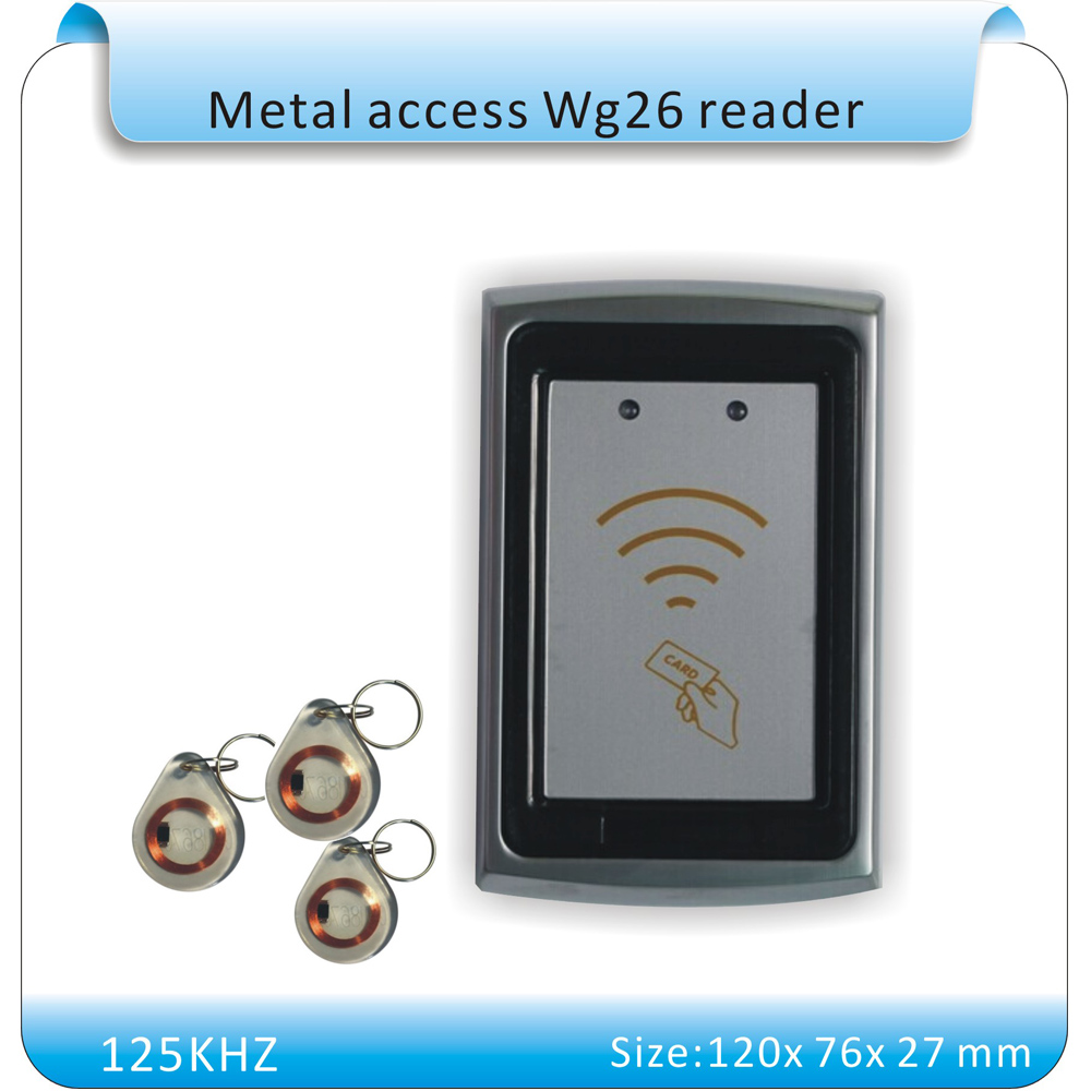 waterproof 125KHz WG26 Proximity Sensor Smart rfid id Card Reader access control compatible tags reader+10pcs crystal keyfobs 10 pcs waterproof card reader for rfid tivdio 125khz low working temperature access control with wg26 home security f1691a