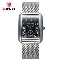 New Luxury CHENXI Black Rectangle Rome Dial Leather Quartz Wristwatches Wrist Watch For Men Women Years