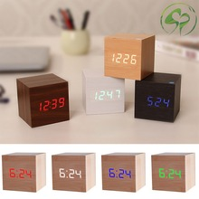 Square Wooden Digital LED Alarm Clock USB/Battery Powered Thermometer with Sound Control Home Decor