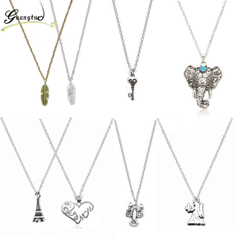 Vintage Feather Skull Key Elephant Fairy Eiffel Tower Pendant Necklaces For Women Jewelry Chains Necklace Steampunk Collares