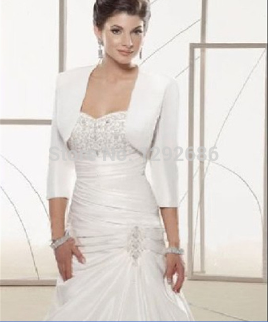 3 4 Sleeve Satin Bridal Jacket White Ivory Bridesmaid Dress Bolero Wedding