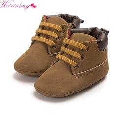 Da Criança Do Bebê Kid Boy Girl Ankle Boots casuais Lace-Up Sapatos de Berço Não-deslizamento Sneaker