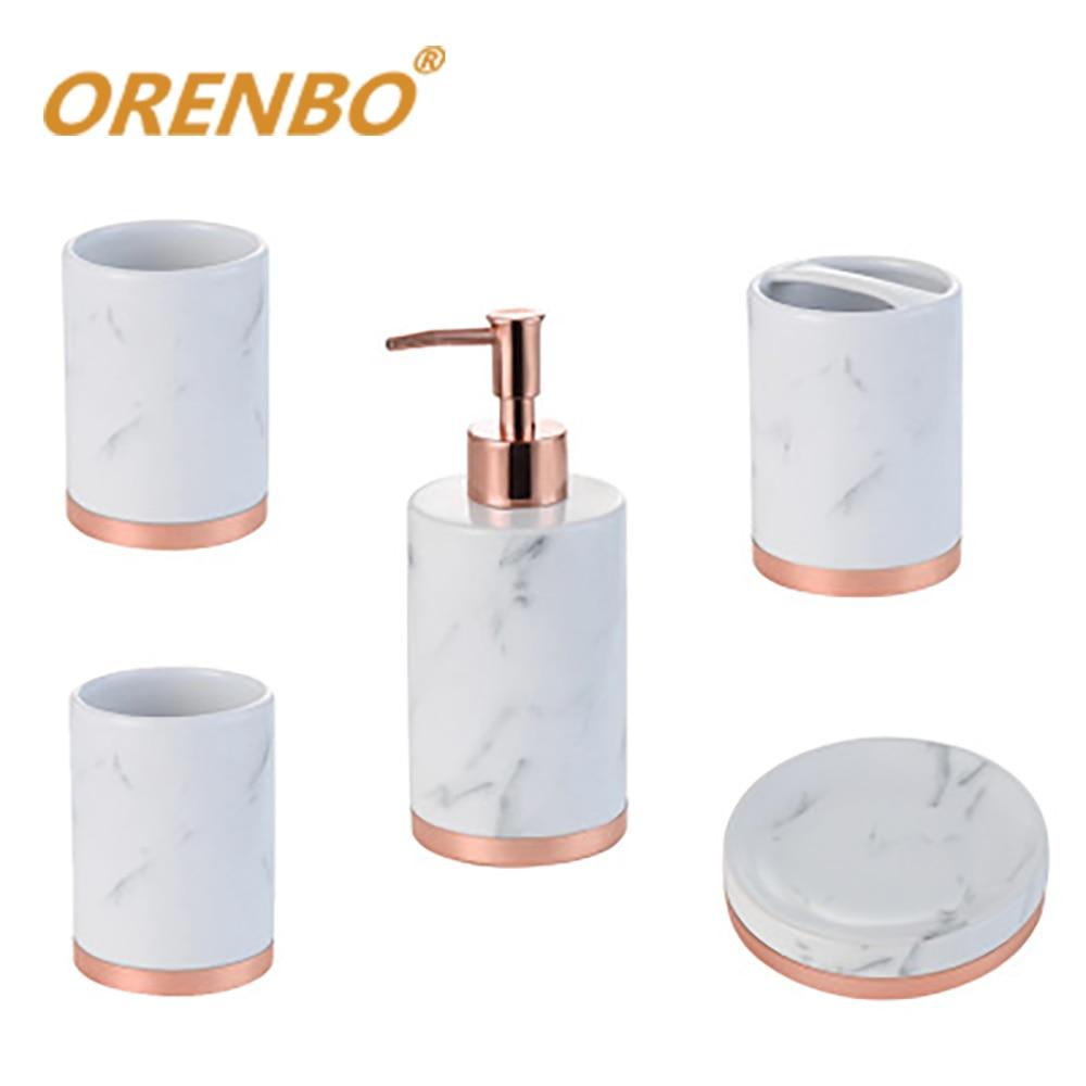 Washroom Accessory Ceramic Bathroom Accessories Set Toilet Toiletries Soap Dispenser,Toothbrush Holder Bathroom Five piece Suit