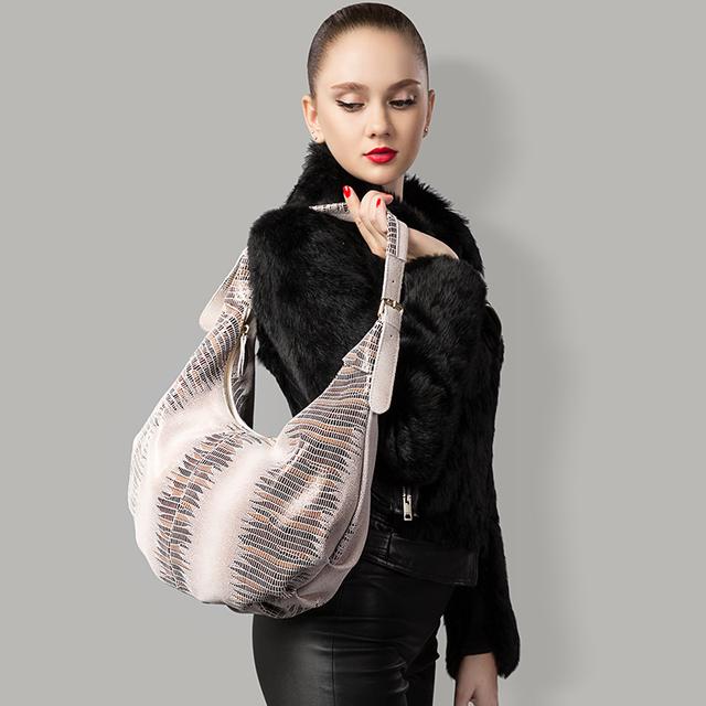 REALER New design handbag genuine Leather bag female Fashion animal pattern Hobo bags High Quality Women Tote Bag