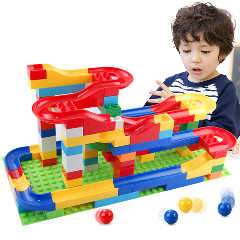 1Set Funny DIY Assembly Race Run Track Colorful Construction Kids Gaming Balls Rolling Maze Building Blocks Toys For