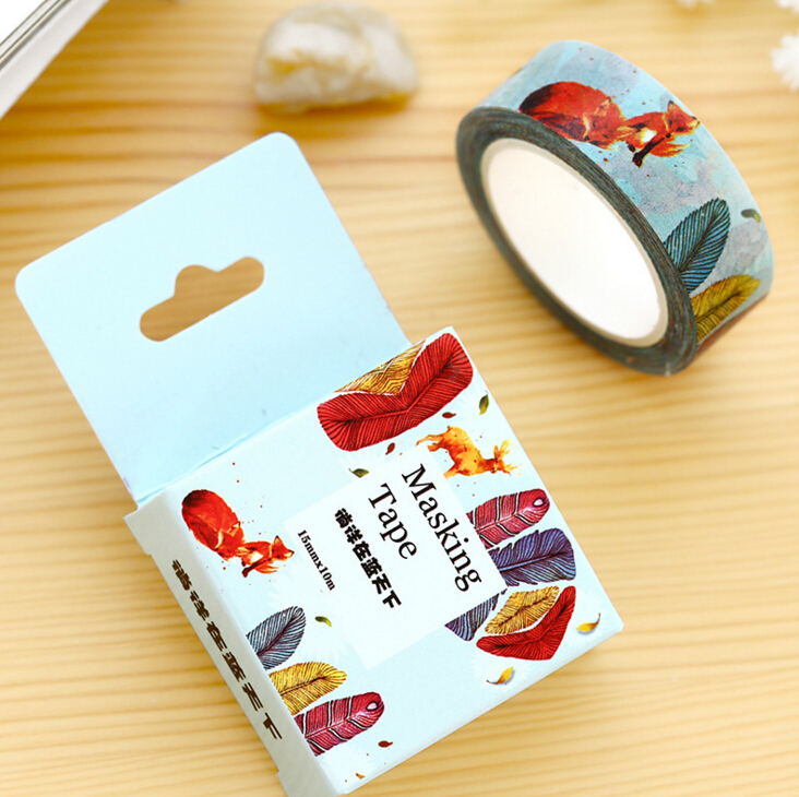 JF314  1.5CM Wide Colorful Feather & Fox Washi Tape DIY Scrapbooking Sticker Label Masking Tape School Office Supply je307 1 5cm wide amazing library books washi tape diy scrapbooking sticker label masking tape school office supply