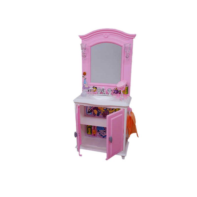 Śliczne meble łazienkowe zestaw zabaw wanna + Dresser + wc apartament typu Suite skrzynka dla lalka Barbie 1/6 dom najlepsze zabawki prezentowe dla dzieci