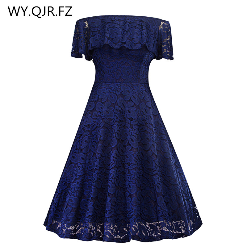 SZSY1846Z#Boat Neck Lace Short Dark Blue Bridesmaid Dresses Wedding Party Dress Gown Prom Cheap Wholesale Fashi Women Clothing