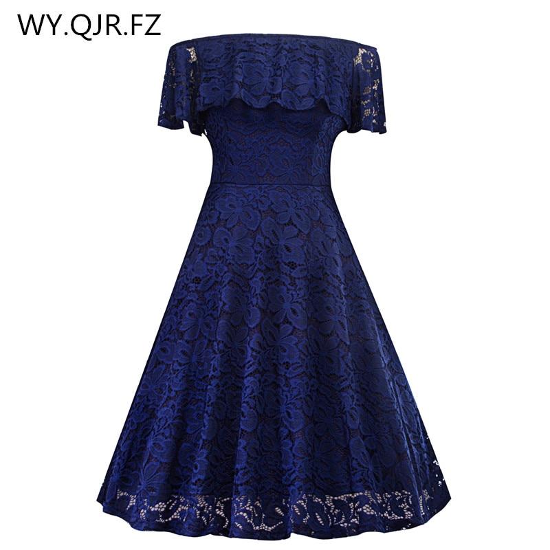 SZSY1846Z#Boat Neck Lace Short Dark Blue Bridesmaid Dresses Wedding Party Dress Gown Prom Cheap Wholesale Fashi Women Clothing
