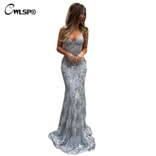 CWLSP Sequin Floor-Length Bandages Maxi Dress Sexy Backless Long Dresses Tie up Skinny Mermaid robe longue femme QL3991