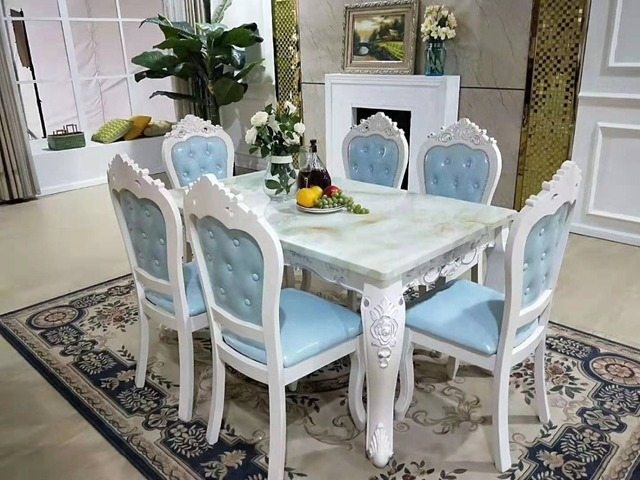 Wonderful Antique Style Italian Dining Table, 100% Solid Wood Italy Style Luxury Dining  Table Set Natrual Marble Modern DS660