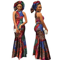 African Style Clothing 2019 Bazin Riche African Print Long Dresses for Women Dashiki Turtleneck Dress Party Vestidos