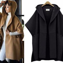 Женская куртка с капюшоном плащ Batwing рукава шерстяной Кейп, пальто больших Размеры Для женщин Свободные шерстяные пальто женские зимние модные меховые пончо размера плюс