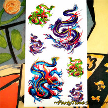 Angry Dragons Temporary Body Art Flash Tattoo Sticker 10*17cm Waterproof Henna Tatoo Summer Beach Style Adult Sex Products