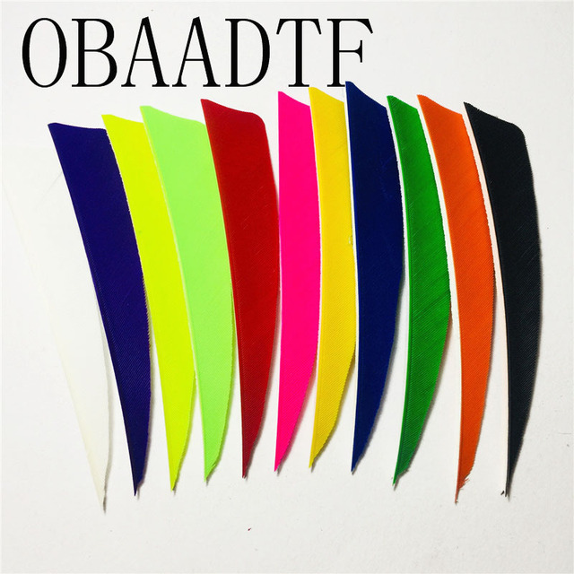 100pcs 4″ Shield Cut Shape Fletching Feathers Archery Hunting And Shooting Arrow Feather Real Turkey Feather Arrow Accessories