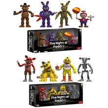 4 Pçs/lote Cinco Noites Em Freddy FNAF das Figuras de Ação Brinquedos Foxy Freddy FNAF PVC Figura Brinquedos para As Crianças Crianças 5 cm Retial caixa