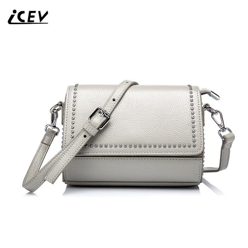 ICEV 2017 New Fashion Rivet Cow Leather Women Messenger Bags Handbags Women Famous Brands High Quality Genuine Leather Handbags icev new brands simple classic female cow leather designer handbags high quality genuine leather handbags women leather handbags