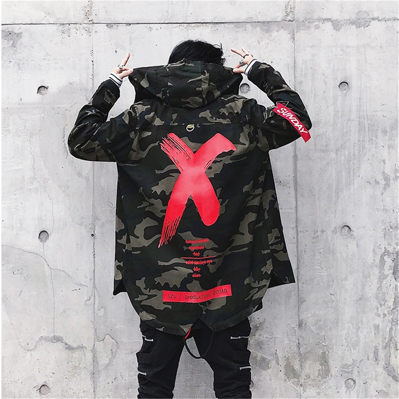 X Printed Military winter jacket for men tactical camouflage Loose hooded male coat Zipper Long Sleeve windbreaker women   trench