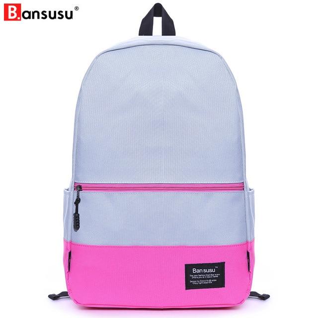 68a6d56ca2ea BANSUSU Patchwork Women Backpacks Children Schoolbag Back Pack Leisure  Korean Ladies Knapsack Laptop Travel Bag for