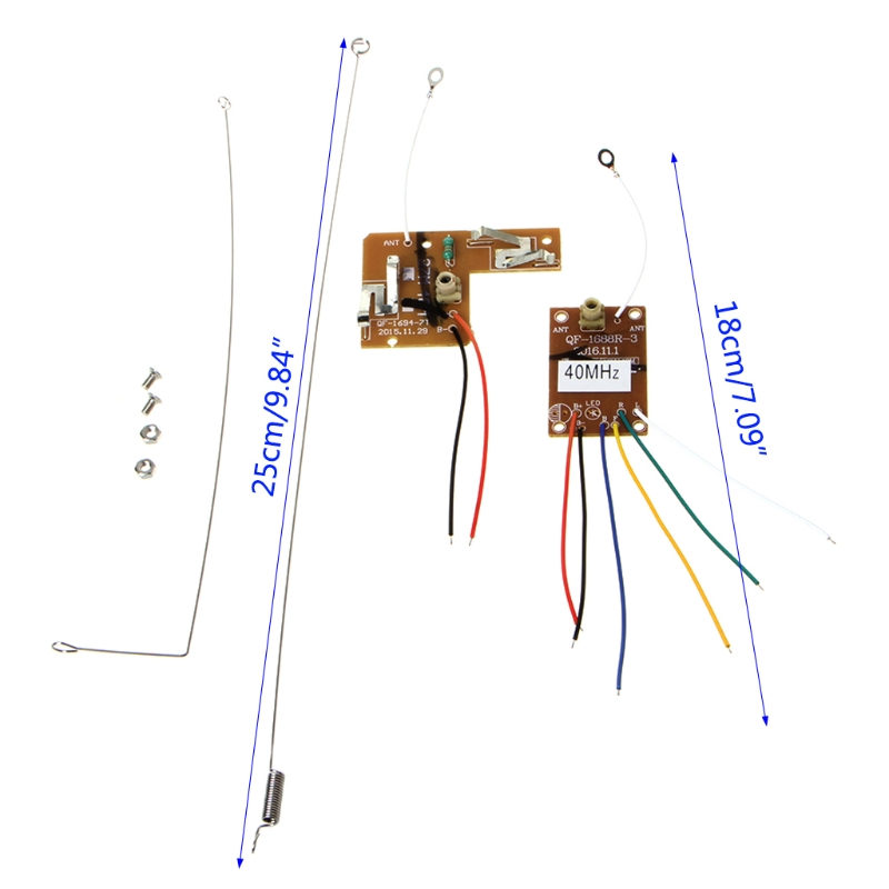 1set 4CH <font><b>40MHZ</b></font> Remote Transmitter & <font><b>Receiver</b></font> Board with Antenna For DIY <font><b>RC</b></font> Car Robot Remote Control Toy Parts image