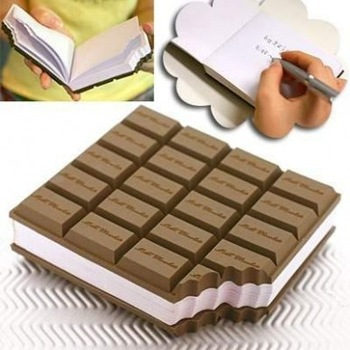 Free Shipping 2pcs/lot Creative Aroma Chocolate Desk Notepad Notebook Memo Book Brown Memo Pads Office & School Supplies