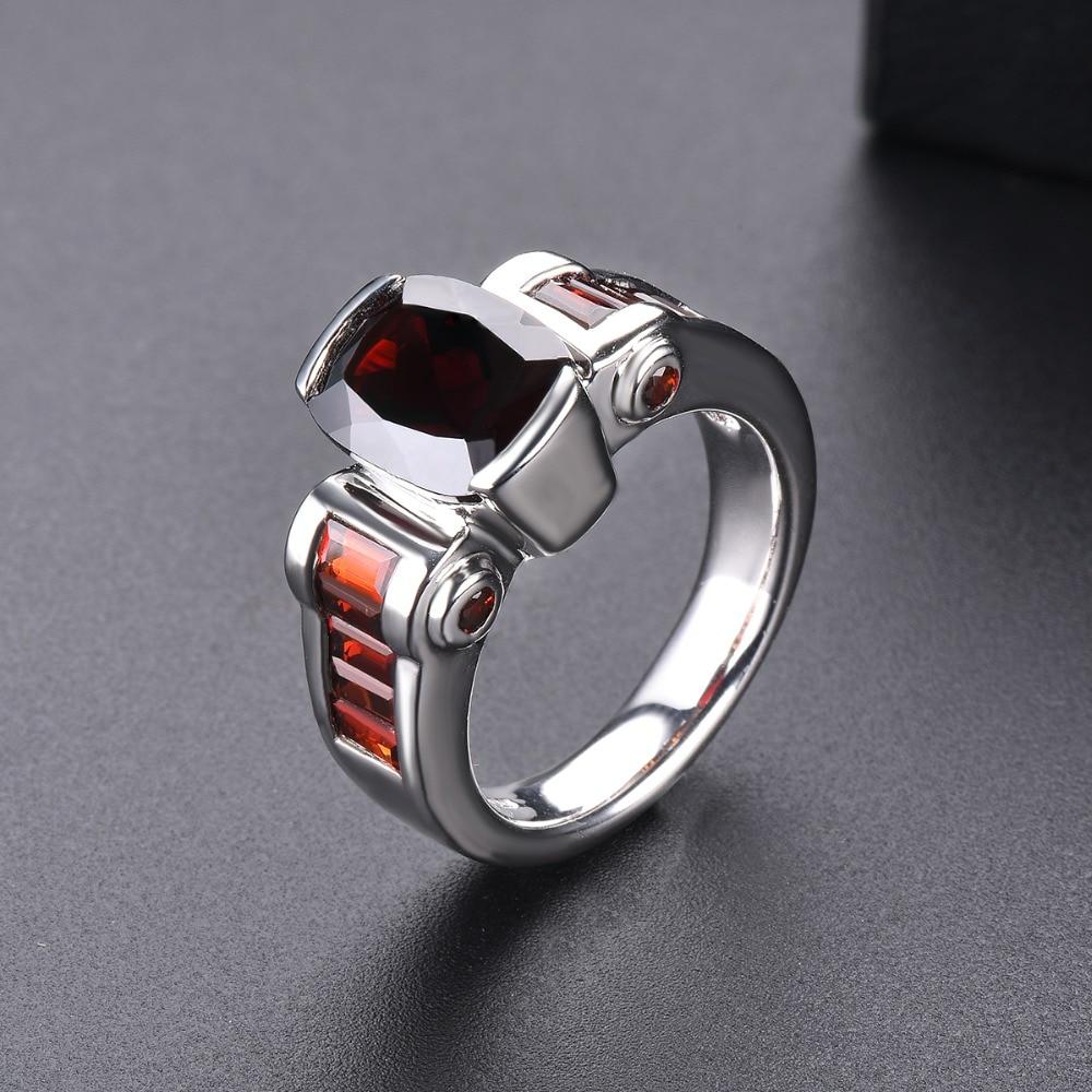 Hutang grenat anneaux de mariage bague en pierre naturelle solide 925 en argent Sterling lunette réglage bijoux de pierres précieuses fines pour les femmes filles nouveau - 5
